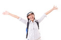 Happy asian female traveller isolated Royalty Free Stock Photo