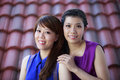 Happy asian girls portrait of two Stock Photography