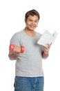 Happy asian man hold book and red dumbbell isolated on white background Stock Photography