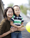 Happy asian mother and son Royalty Free Stock Photography