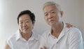 Happy asian senior couple on white background love and hug Royalty Free Stock Photo