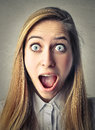 Happy astonished woman young beautiful with an expression Stock Photos