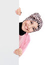 Happy attractive muslim woman holding blank white board Royalty Free Stock Photo