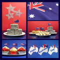 Happy australia day january collage of five images with lamingtons flags fairy bread meat pie and sauce cupcakes and bunting Stock Images