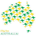 Happy australia day map made from kangaroos in vector format Royalty Free Stock Image