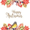 Happy autumn border with birdsong Royalty Free Stock Photo