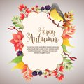 Happy autumn cloud foliage with birdsong Royalty Free Stock Photo