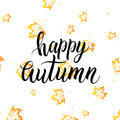 Happy autumn lettering with orange leaves
