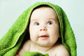 Happy baby and bath towel Royalty Free Stock Photo