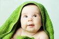 Happy baby and bath towel Royalty Free Stock Photo