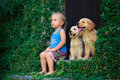 Happy baby boy sitting with two golden labrador retriever puppies Royalty Free Stock Photo