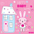 Happy baby bunny illustration Stock Photography