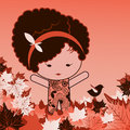 Happy baby doll with leaves birds curly hair fallen leaves Royalty Free Stock Photo