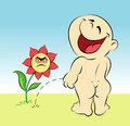 Happy baby and flower cartoon Royalty Free Stock Photography