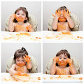 Happy baby funny messy eater Royalty Free Stock Photo