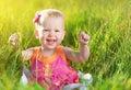 Happy Baby Girl On  Meadow   O...