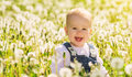 Happy baby girl on meadow with white flowers