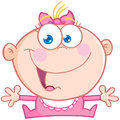 Happy baby girl open arms cartoon character Stock Photography