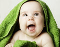 Happy baby looking up small Stock Photography