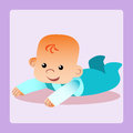 Happy baby is lying on his stomach trying to crawl childhood and motherhood Stock Photography