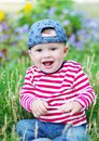 Happy baby in summer age of months Stock Photo