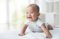 happy baby while tummy time Royalty Free Stock Photo