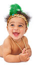 Happy Baby Wearing Flapper Headband Stock Photography