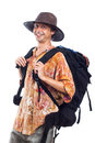Happy backpacker Royalty Free Stock Photo