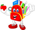 Happy bag cartoon giving thumb up with apple Royalty Free Stock Photo