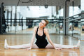Happy ballerina doing splits Royalty Free Stock Photo