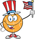 Happy Basketball Cartoon Character With American Patriotic Hat And USA Flag