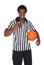 Happy basketball referee portrait of isolated over white background Royalty Free Stock Photo