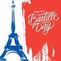 Happy Bastille Day, 14th of July brush stroke holiday greeting card in colors of the national flag of France with Eiffel tower.