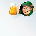Happy bavarian man hold an oktoberfest beer stein vector background Stock Image