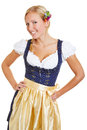 Happy bavarian woman in dirndl young smiling a Royalty Free Stock Image