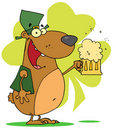 Happy bear in green, drinking beer Royalty Free Stock Image
