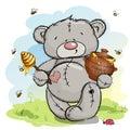 Happy bear holding a pot of honey Royalty Free Stock Photo
