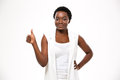 Happy beautiful african american woman standing and showing thumbs up Royalty Free Stock Photo
