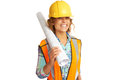 Happy beautiful female construction worker isolated on white background Royalty Free Stock Photos