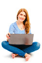 Happy beautiful girl with laptop a Stock Images