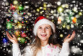 Happy beautiful little girl looks at the sky in the Christmas Royalty Free Stock Photo