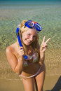 Happy beautiful summer woman with diving mask Royalty Free Stock Images