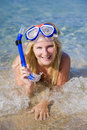 Happy beautiful summer woman with diving mask Stock Images