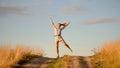 Feliz joven chica bailar en