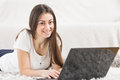 Happy Beautiful Young Student Girl Using Laptop Royalty Free Stock Photo