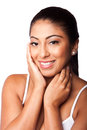 Happy beauty face smiling beautiful woman with clean skin isolated Royalty Free Stock Photography