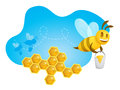 Happy bee a carring a bucket full of honey leaving a path honeycombs and two silhouette friends over an organic and luminous blue Royalty Free Stock Photography