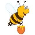 Happy Bee with Honey Jar