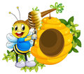 A happy bee playing with the honey near the beehive illustration of on white background Royalty Free Stock Photo