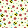 Happy bee and red flowers seamless pattern